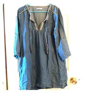 Mini denim dress. Lightly worn. POCKETS!! (: